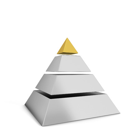 Sliced pyramid chart. 3d illustration isolated on white background Stock Photo