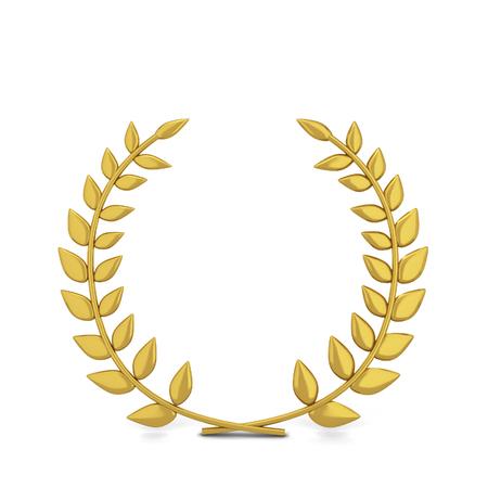 Winner laurel symbol. 3d illustration isolated on white background  Stok Fotoğraf