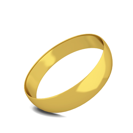Golden wedding ring. 3d illustration isolated on white background  Stock Photo