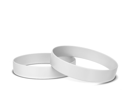 Two rubber bracelets. 3d illustration isolated on white background