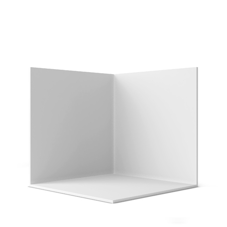 Simple trade show booth. Square corner. 3d illustration isolated on white background