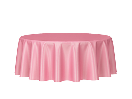 Blank round tablecloth. 3d illustration isolated on white background