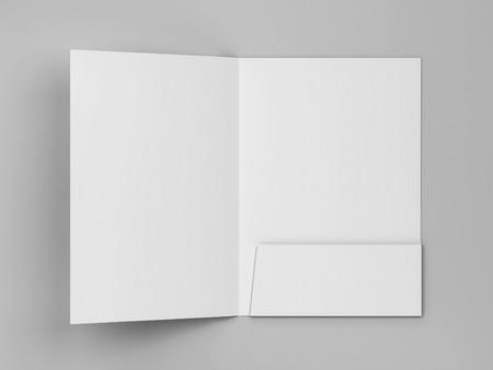 Blank paper folder mockup. 3d illustration on gray background