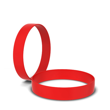 Two rubber bracelets. 3d illustration isolated on white background Stock Photo