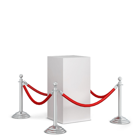 Stanchions and a podium. 3d illustration isolated on white background Imagens