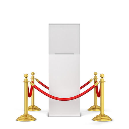 Stanchions and a podium. 3d illustration isolated on white background Stock Photo