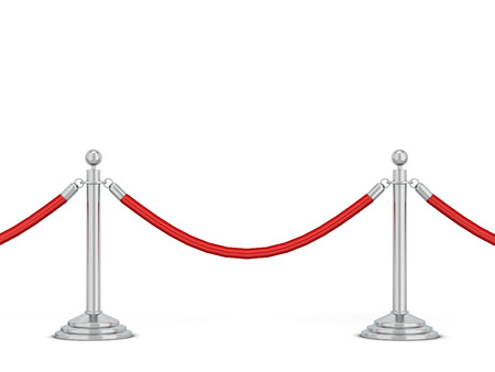 Metal stanchions row. 3d illustration isolated on white background