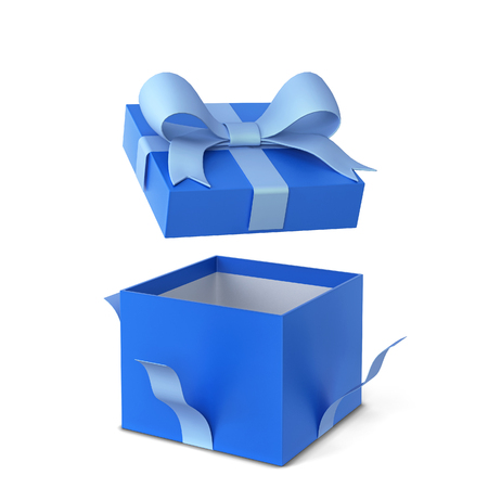Opened gift box with colourful bow and ribbon. 3d illustration isolated on white background Stock Photo