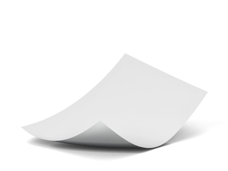 Blank sheet of paper. 3d illustration isolated on white background Banco de Imagens - 112022578