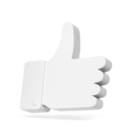 Like thumb up social network symbol. 3d illustration isolated on white background Stock Photo