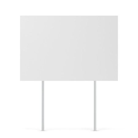 Blank yard sign. 3d illustration isolated on white background