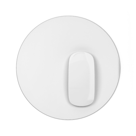 Blank modern computer mouse with pad mockup. 3d illustration isolated on white background