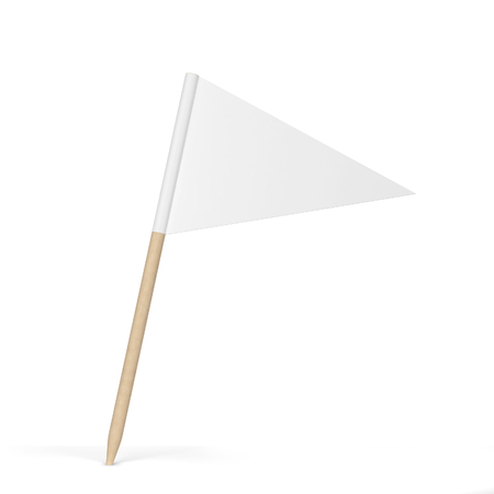 Blank toothpick flag. 3d illustration isolated on white background Imagens
