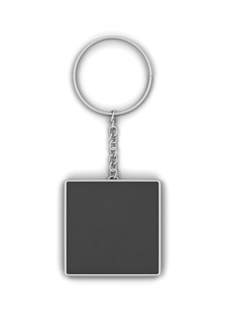 Blank metallic keychain mockup. 3d illustration isolated on white background