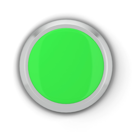Blank round push button. 3d illustration isolated on white background
