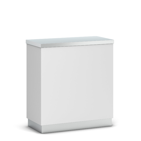 Blank counter stand mockup. 3d illustration isolated on white background