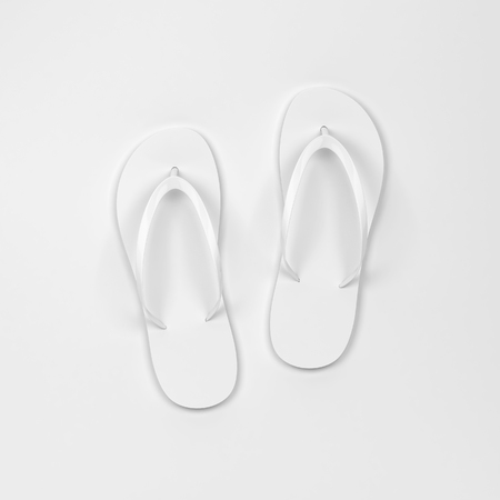 Blank pair of flip flops mockup. 3d illustration