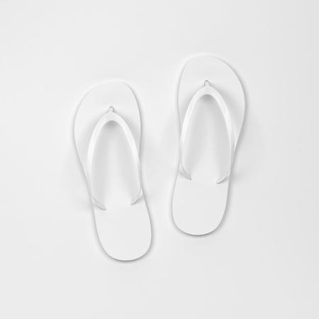 Blank pair of flip flops mockup. 3d illustration