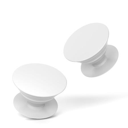 Blank telephone pop socket mockup. 3d illustration isolated on white background