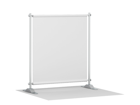 Blank backdrop banner mockup. 3d illustration isolated on white background