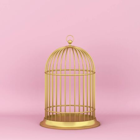 Closed decorative bird cage. 3d illustration on pink background