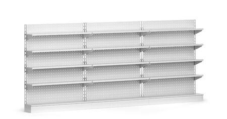Empty market shelves mockup. 3d illustration isolated on white background