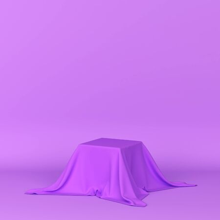 Box covered with a piece of cloth. 3d illustration. Minimal concept Reklamní fotografie