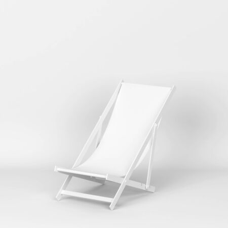 Single deckchair for relaxation on a beach. 3d illustration on white background