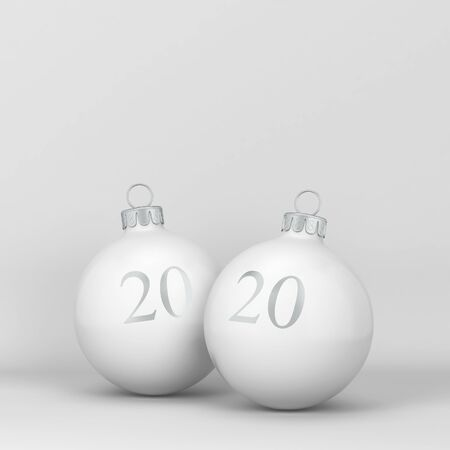 Two christmas balls with sign 2020 on them. New year concept. 3d illustration