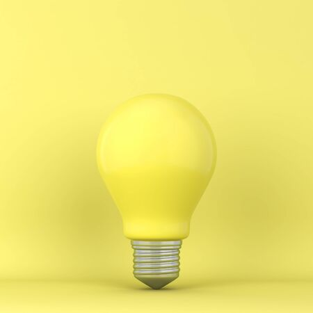 Single lightbulb. 3d illustration. Minimal concept