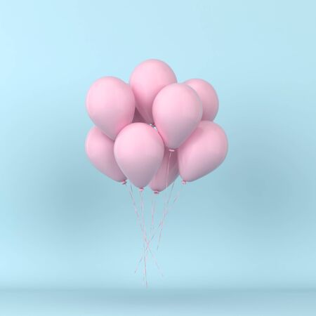 Bunch of colorful balloons floating. 3d illustration. Minimal concept  Banco de Imagens
