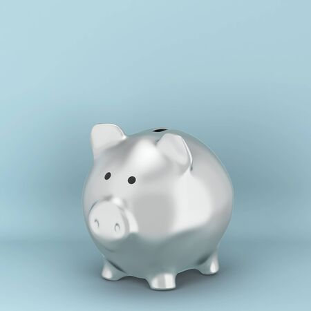 Ceramic piggy bank for saving money. 3d illustration on blue background  写真素材