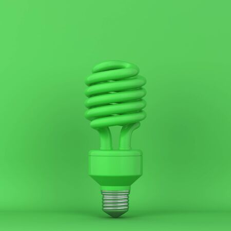 Fluorescent lightbulb. 3d illustration. Minimal concept  Фото со стока