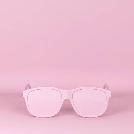 Modern fashionable sunglasses. 3d illustration on pink background Фото со стока