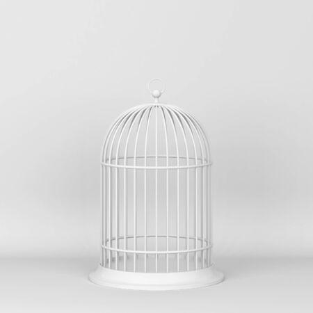 Closed decorative bird cage. 3d illustration on gray background Stock fotó