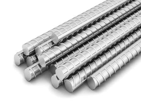 Steel reinforced bars. 3d illustration isolated on white background Standard-Bild