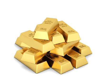 Stack of golden ingots. 3d illustration isolated on white background