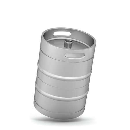 Metal beer keg. 3d illustration isolated on white background Reklamní fotografie