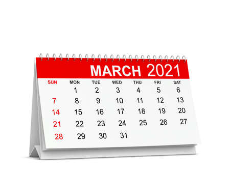 Calendar for year 2021. Week starts with sunday. 3d illustration isolated on white background