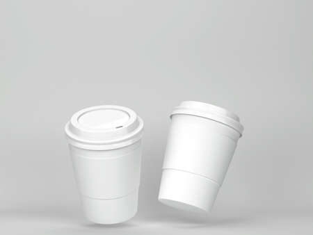 Blank coffee cup mockup. 3d illustration on gray background