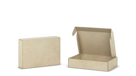 Blank tuck in flap packaging box mockup. 3d illustration isolated on white background Foto de archivo