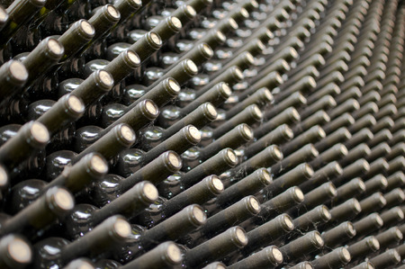 mustiness: wine bottles stacked in cellar