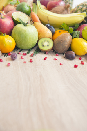 fruits on table with blank space for text message Stock Photo