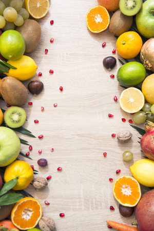 Fresh fruits on table with empty space for message