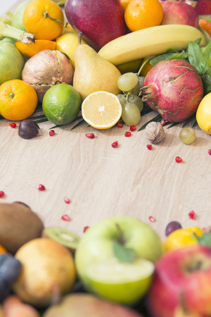 Fresh fruits on table Stock Photo