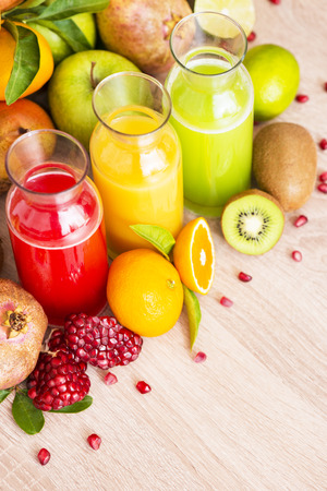 Fresh organic juice made from various fruits Stock Photo