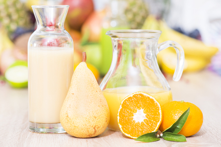 Pear and tangerine fresh juice