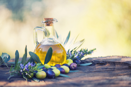 Extra virgin olive oil Stock Photo