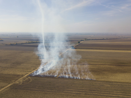 fire on agricultural land Stock Photo