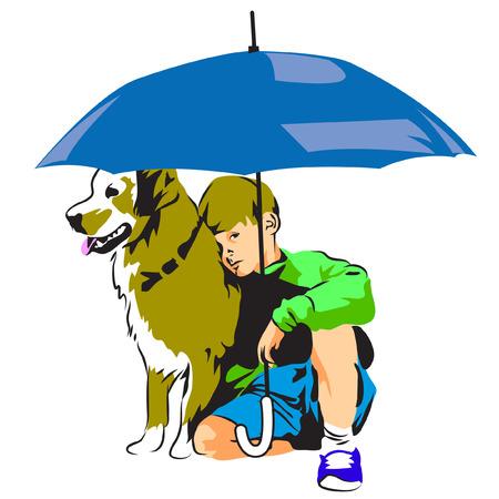 Dog and Child under an Umbrella